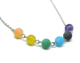 Crystal Healing Gemstone Beaded Silver Necklace