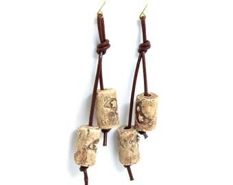 Moon Stamped Clay and Leather Dangle Earrings on Raw Brass Hooks