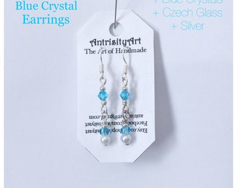 NEW Blue Crystal Handmade Earrings, with Silver glass and crystals, hypoallergenic stainless steel hooks available