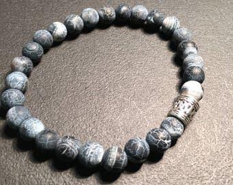 Men's Black Crackle Agate Bracelet