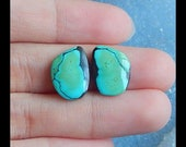 Reserve for sue,Turquoise Gemstone Fashion Cabochon Pair ,15x11x3mm,1.4g (Cpa684)