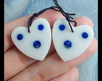 New Design, White Jade,Lapis lazuli Intarsia Earring Bead,23x3mm,6.2g