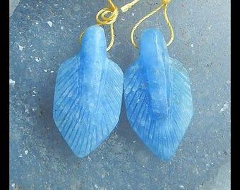New,Carved  Jasper Leaf  Earring Beads,33x16x7mm,7.7g