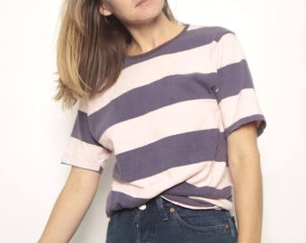 90s striped OXFORD soft SPRING t shirt top pink & blue