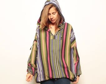 90s STRIPED nirvana GRUNGE oversize HOODIE button up down shirt crossover