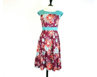 Dramatic flower dress in plum and turquoise *only one left* * ready to ship*