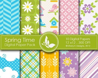 40% off Spring Time Paper Pack - 10 printable Digital Scrapbooking papers - 12 x12 - 300 DPI