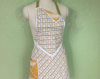 Butcher Style Apron in Mustand, Forest   Green and Burnt Orange Plaid
