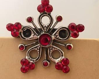 Vintage Red Rhinestone Snowflake Pin, vintage snowflake brooch, costume brooch, costume pin, holiday jewelry