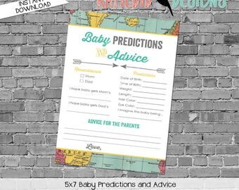 baby shower games printable baby predictions stats advice 1294 world map oh the places digital gender sprinkle rustic chic navy gold mint