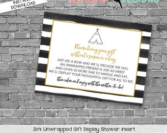 display shower insert   unwrapped gift enclosure card   where the wild things are baby shower   wild rumpus   WTWTA   292 katiedid designs