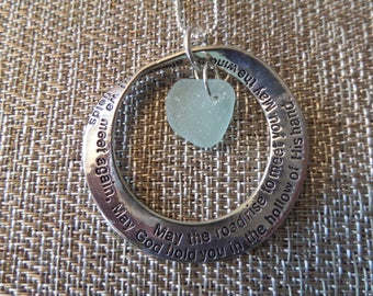 Scottish Irish Blessing Necklace with Aqua Scottish Sea Glass and Engraved Hoop, Mobius Strip Pendant from Scotland