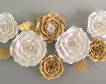Large paper flower backdrop/ nursery flower wall decor/ nursery decor/ wedding backdrop/ wedding flower/ white and gold roses