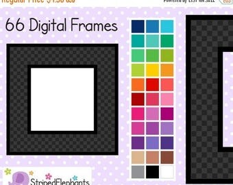 40% OFF SALE Checked Square Clip Art Digital Frames - Instant Download - Commercial Use