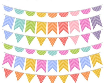 40% OFF SALE Colorful Bunting Clip Art - Rainbow Bunting Clipart - Bunting Graphics - Commercial Use - Instant Download