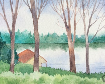 ACEO Original watercolor painting - By the lake