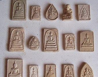 15 Thai Buddhist Buddha Buddhism Clay Amulet Tablets Thai Amulet