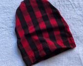 Red and Black Buffalo Plaid Slouchy Beanie Skull Cap Baby Toddler Boys Girls unisex Single Layer Lightweight fitted hat Kids