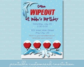 Winter Wipeout Birthday Invitation without Photo