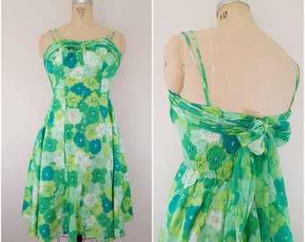 Vintage 1950s Dress / Cole of California Sundress / Green Floral / XS-Small