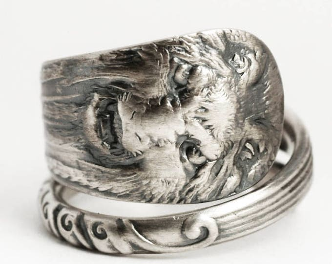 Silver Lion Ring, Victorian Lion Face Ring, Sterling Silver Spoon Ring, Narnia Jewelry, Gift for Him Gift for Her, Ring Size 7 8 9 10 (6896)