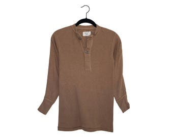 Vintage Undershirt, Cold Weather Brown 436, Class 3 Two Button Henley Dark Brown Thermal Top, Made in USA - Extra Small