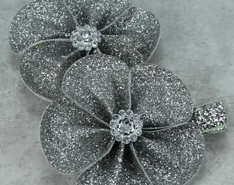 Silver Glitter Bow, Silver Hair Bow, Silver Flowers, Glitter Hair Bow, Glitter Flowers, Flower Hair Bow, Flower Hair Clip, Holiday Hair Bow