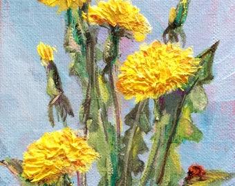 "Dandelions painting flowers still life original oil floral painting 7 x 5"""