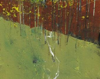 Semi-abstract landscape original painting - Nant y coetir