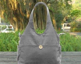 On Sale 20% off gray cotton canvas messenger bag, fabric tote bag for women, canvas shoulder bag, school bag, travel bag
