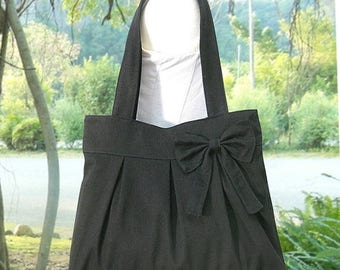 On Sale 20% off black cotton fabric purse with bow / canvas tote bag / shoulder bag / hand bag / diaper bag - zipper closure