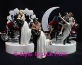 Red ELECTRA GLIDE You Pick White, African American, Hispanic Wedding Cake Topper w/ Harley Davidson Motorcycle OR glasses, knife set, book