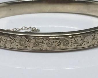 Vintage VTG Birks & Sons Sterling Floral Etched Hinged Bracelet Circa 1950's