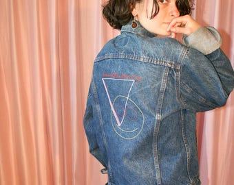 Dark Wash Levis Denim Jean Jacket with Smiley Face