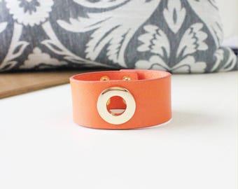 O Ring Gold Metal Bold Bracelet(Orange)