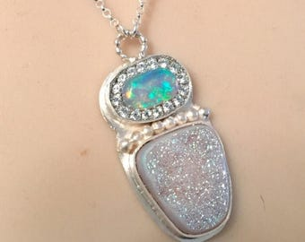 SUMMER Sale Ethiopian opal and aura antel druzy sterling silver ooak necklace