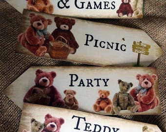 Set of 4 Teddy Bear's Picnic Large Party Decoration Arrows
