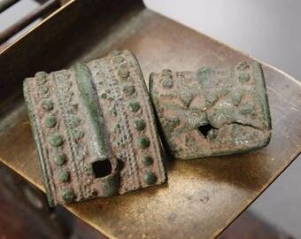 Set of 2 Antique brass plates, pendant, connectors, finding, dark patina