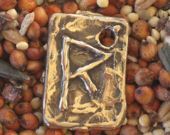 Primitive Bronze Rune Pendant of Travel...   RAIDHO
