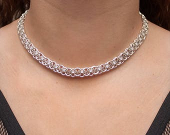 Chainmail Choker, Chainmaille Necklace, 25th Anniversary Gift, Helm Weave, 25 Year Anniversary, Silver Gift for Her, Gift for Wife, Canada