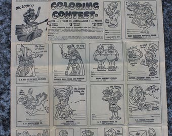 Vintage Newspaper Coloring Contest for Alice in Wonderland, 1950, The Oregonian