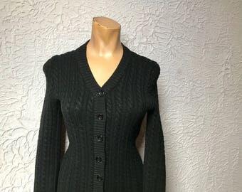 70's Vintage Yves Saint Laurent YSL Black Cable Knit Cardigan Sweater sm/med.