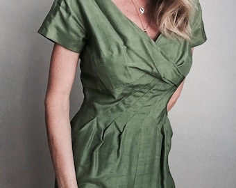 vintage 50s olive green wiggle pencil hourglass dress -- womens 36-27-38
