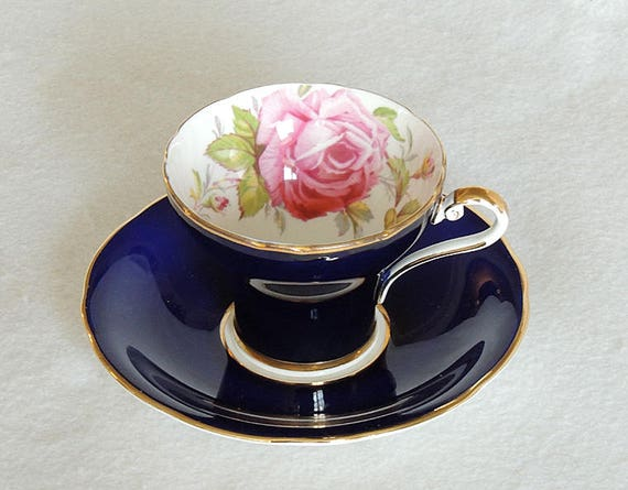 Vintage Aynsley Bone China Tea Cup & Saucer.. Corset Style Cobalt Blue, Cabbage Rose