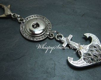 Nautical Anchor Purse Pull, Rhinestone Snap Button Pull, Large Lobster Claw Clasp, Zipper Pull, Filigree Anchor Charm