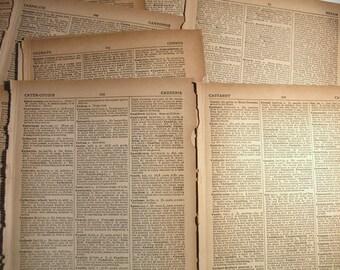 25 Vintage Dictionary Pages*Vintage Book Paper*Art Journaling*Scrapbook Supply*Decoupage Paper*Journal Ephemera*Word Pages*Paper Ephemera*