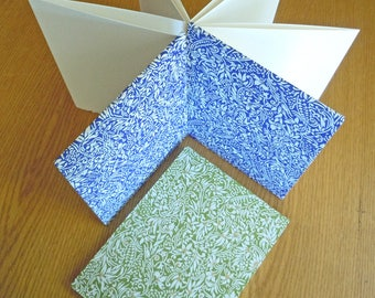 Floral prints on a 6x8 Accordion Fold BFK Alternative Guest Book Photo Album Sketchbook with Deckle Edge