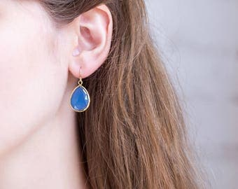 Blue Stone Earrings, Gold Dangle Earrings, Gold Framed Stone, Bezel Set Earrings, Bridal Party Earring Gifts, Gift for Friend, Minimalist