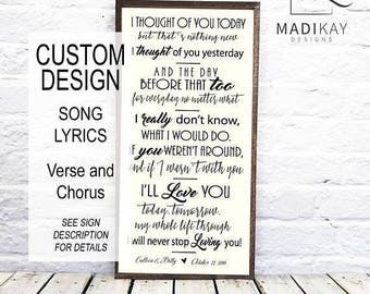 personalized wedding gift, Wedding song lyric wall art, song lyric art, wedding song lyric art, Wedding Anniversary Gift, Wood Sign