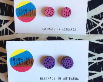 Hand painted upcycled dot stud earrings